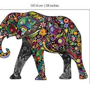 Colorful Floral Elephant Vinyl Wall..