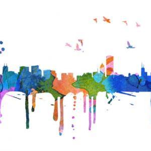 Chicago Skyline Watercolor Print Ar..