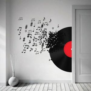 Vinyl Record Blowing Music Notes De..