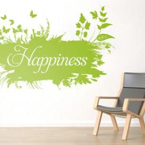 Happiness Floral Wall Art Vinyl Wit..