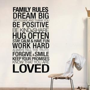 Wall Decal Quotes - Family Rules In..