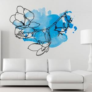 Floral Watercolor Blue Wall Decal S..