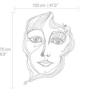 Girl Face Lines Modern Sticker Wall..