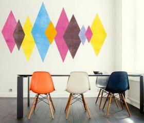 Danish Mid Century Modern Multi Colored Triangles Minimalist Eames Abstract Sticker