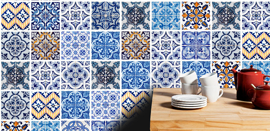 Tile Tattoo Stickers Blue Tiles For Kitchen Or Bathroom Makeover Pack With 48