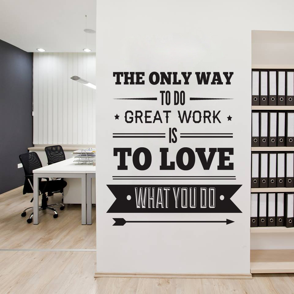 Office decor typography inspirational quote wall for Decoration bureau maison