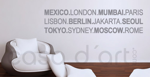 World Wide Cities - wall decal for housewares