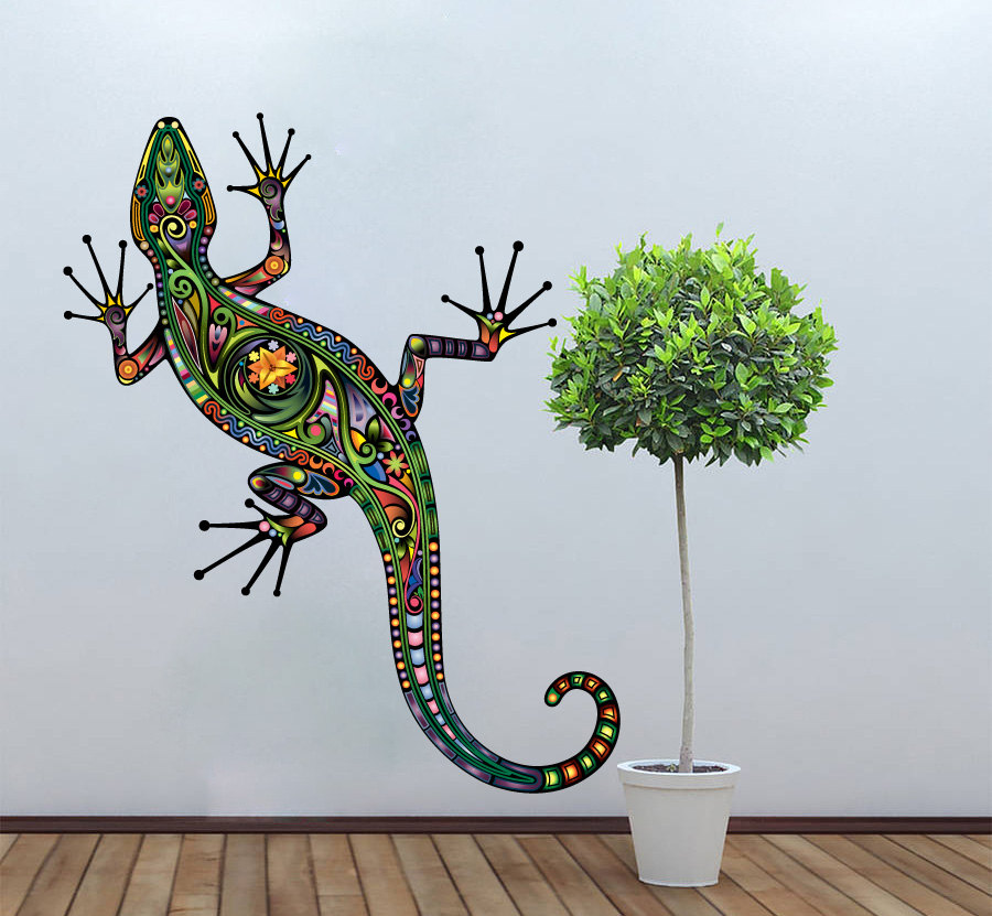 Lizzard Decoration Vinyl Wall Art Decal Colorful Floral Gecko Sticker