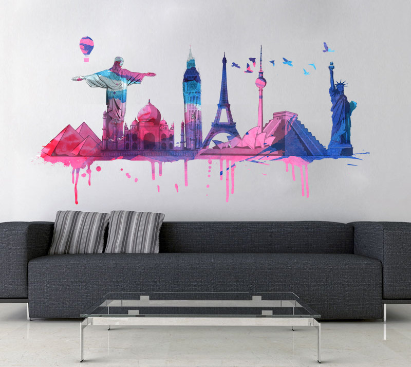 World Wall Art world travel watercolor decal for housewares on luulla