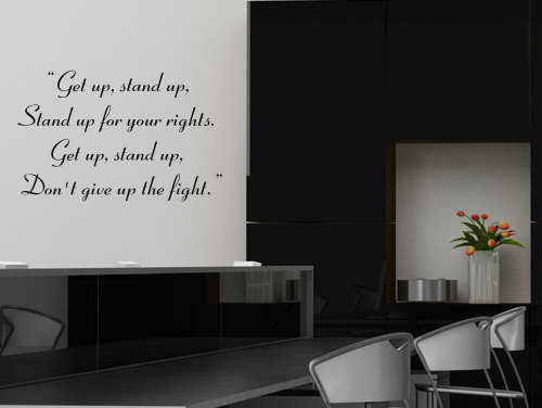 Http Www Luulla Com Product 271331 Bob Marley Lyrics Text Song Get Up Stand Up Decal Sticker Home Decor
