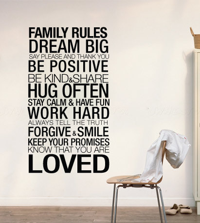 Wall Decal Quotes - Family Rules Inspirational Quote Home Decor Typography Decorative Sticker