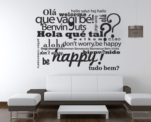Wall Decoration Text : Wall decal quotes welcome be happy typography