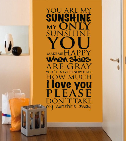 You Are My Sunshine Wall Art wall decal quotes - you are my sunshine wall art quote typography
