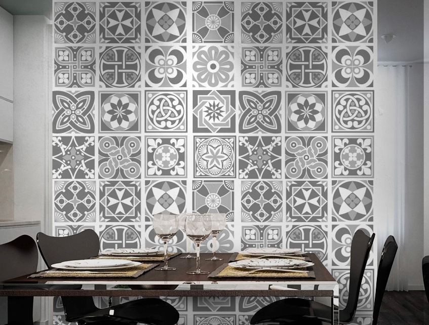 Wall Tile Decoration Sticker Design Grey Scale for Modern Living Room ...