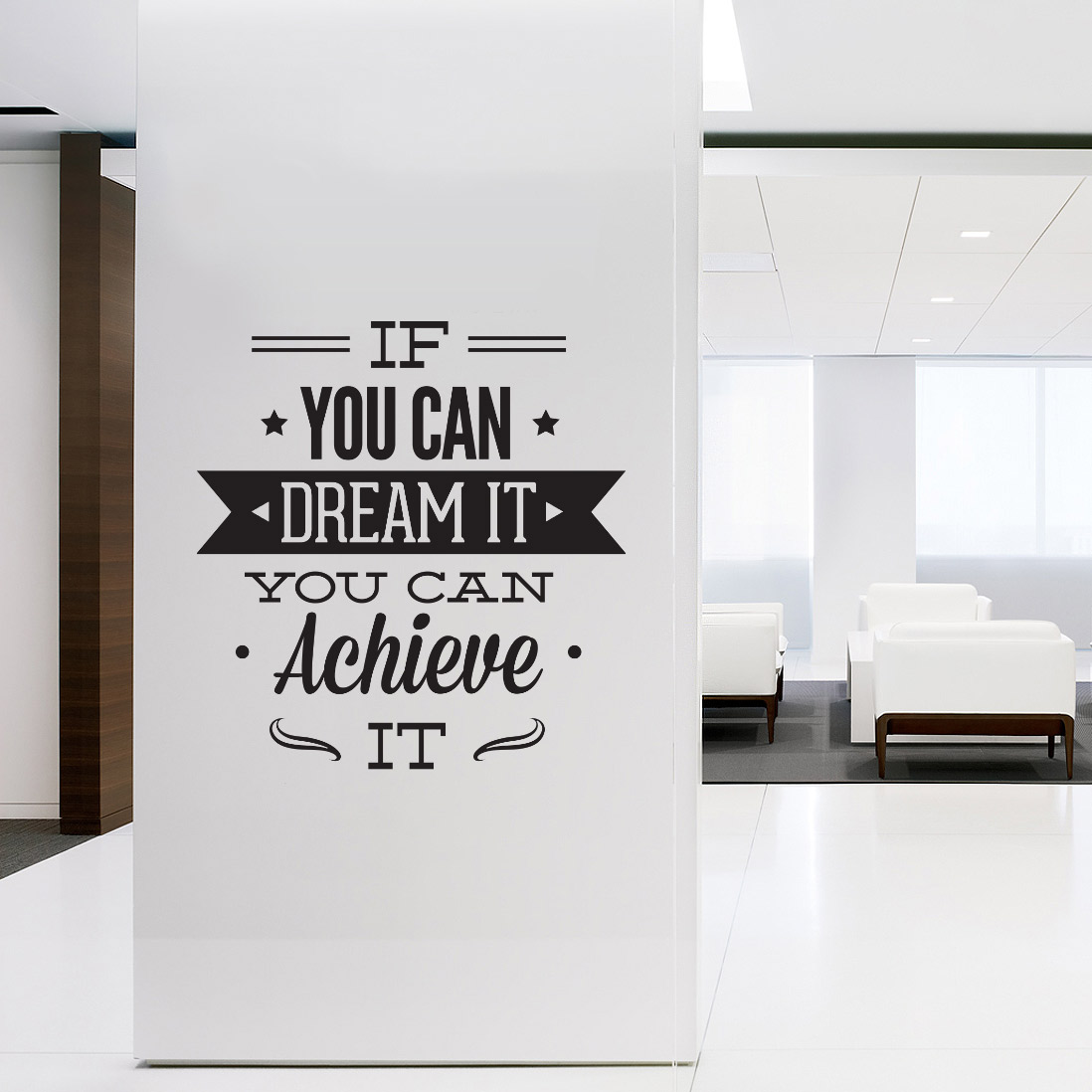 Inspirational Quotes Wall Art wall decal quotes - wall art typographic sticker dream it achieve