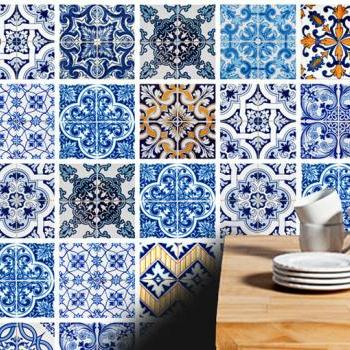 Tile Tattoo Stickers Blue Tiles for kitchen or Bathroom Makeover (Pack with 48)
