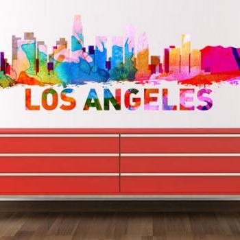 Los Angeles Skyline Watercolor Decal Art Print L.A. City Sticker for Modern Homes