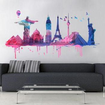 World Travel Watercolor Decal for Housewares