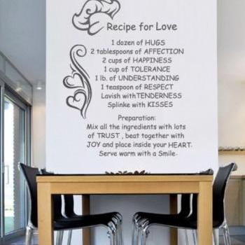 Wall Decal Quotes -  Vinyl Letters Wall Sticker Text Recipe for Love Decal for Modern Homes