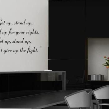 Wall Decal Quotes -  Bob Marley Lyrics Text Song Get Up Stand Up Decal Sticker Home Decor