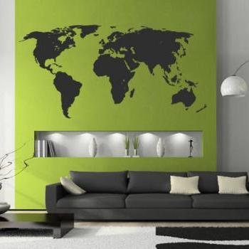 World Map Silhouette Decal for Housewares