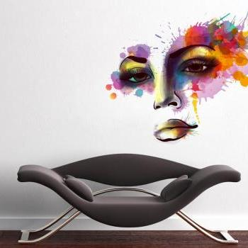 Woman Face Watercolor Silhouette Vinyl Wall Art Print Splash Decal