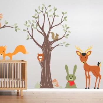 Wood Animals Decal Nursery Sticker Decoration for Kids Bedroom