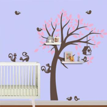 Wall Decal Shelving Tree Sticker with Squirrels for Kids Bedroom