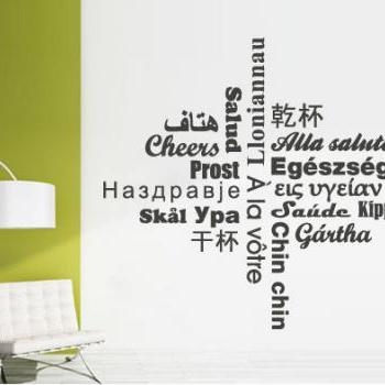 Wall Decal Quotes -  Cheers Hello Words Sticker Text in Different Languages Wall Decal