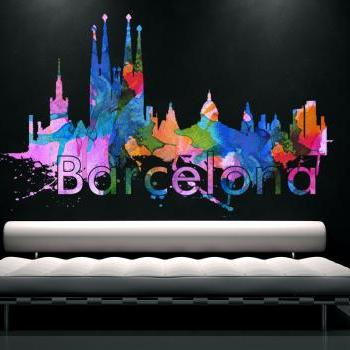 Barcelona City Skyline Watercolor Art Decal Print Home Design