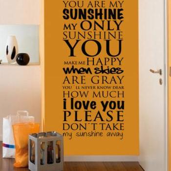 Wall Decal Quotes - You are My Sunshine Wall Art Quote Typography Lyrics Sticker Home Decor