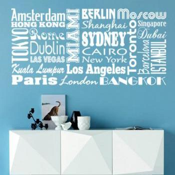 Cities of The World Typography Sticker Home Decor for Housewares Vinyl Wall Decal