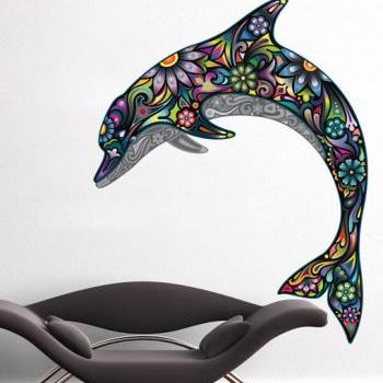 Colorful Floral Dolphin Wall Sticker Ornaments Decal Home Design