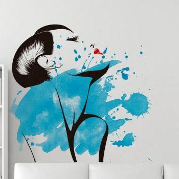 Stylish Woman Watercolor Silhouette Wall Decal Art for Modern Homes