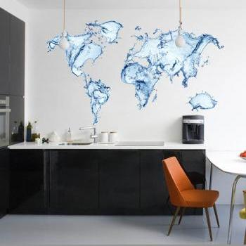 Water World Map Decal All Modern Art Print Sticker