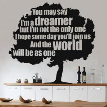 Wall Decal Quotes -  Dreamer Tree Vinyl Quote Sticker Modern Living Room
