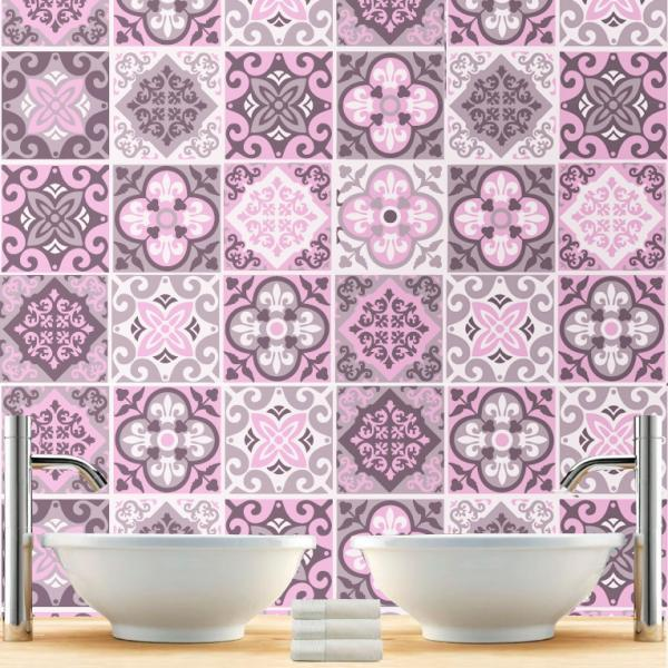Tiles Decor Sticker for Kitchen Remodeling Rosy Ornaments (Pack with 48) - 4 x 4 inches