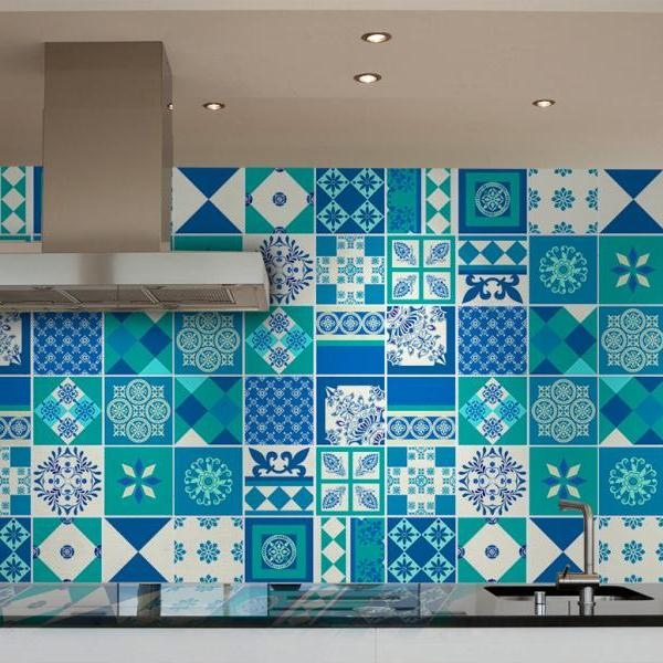 Tiles Decoration Sticker Blue Indigo (Pack of 54) - 4 x 4 inches