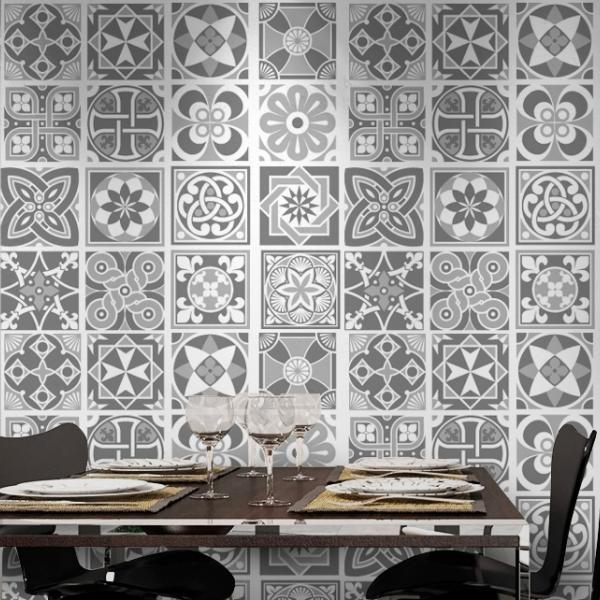 Wall Tile Decoration Sticker Design Grey Scale for Modern Living Room (Pack with 48) - 4 x 4 inches