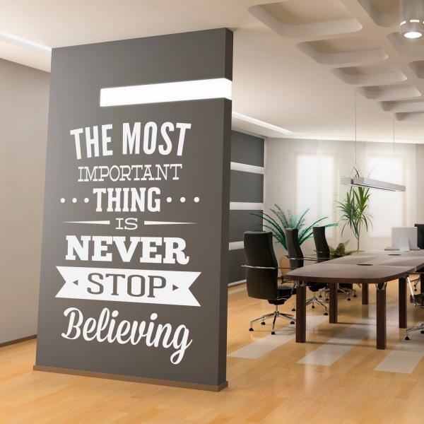 wall decal quotes wall decal inspirational office art quote never stop believing sticker on luulla amazing wall quotes office